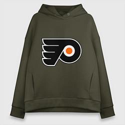 Толстовка оверсайз женская Philadelphia Flyers цвета хаки — фото 1