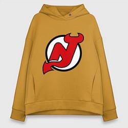 Толстовка оверсайз женская New Jersey Devils цвета горчичный — фото 1