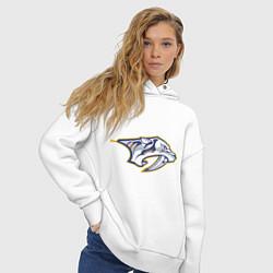 Толстовка оверсайз женская Nashville Predators цвета белый — фото 2