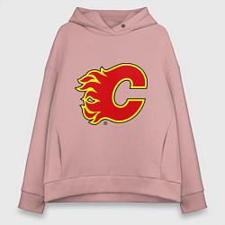 Толстовка оверсайз женская Calgary Flames цвета пыльно-розовый — фото 1