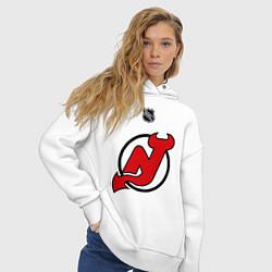 Толстовка оверсайз женская New Jersey Devils: Kovalchuk 17 цвета белый — фото 2