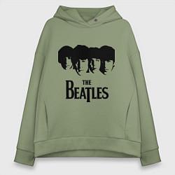 Толстовка оверсайз женская The Beatles: Faces цвета авокадо — фото 1
