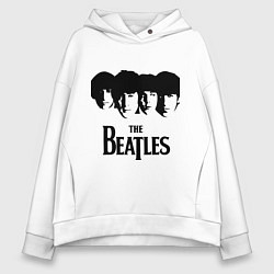 Толстовка оверсайз женская The Beatles: Faces цвета белый — фото 1