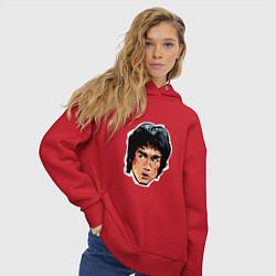 Толстовка оверсайз женская Bruce Lee Art цвета красный — фото 2