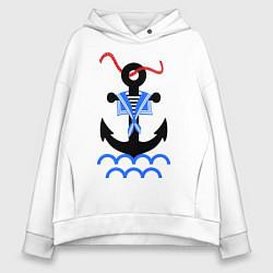 Толстовка оверсайз женская Морской якорь цвета белый — фото 1