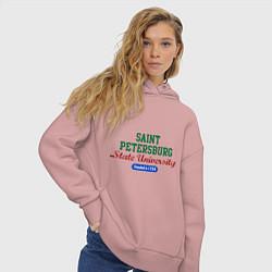 Толстовка оверсайз женская SPSU цвета пыльно-розовый — фото 2