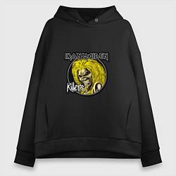 Толстовка оверсайз женская Iron Maiden Killers цвета черный — фото 1