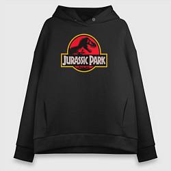 Толстовка оверсайз женская Jurassic Park цвета черный — фото 1