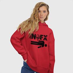 Толстовка оверсайз женская NOFX crushman цвета красный — фото 2