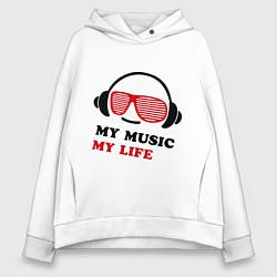 Толстовка оверсайз женская My music my life цвета белый — фото 1