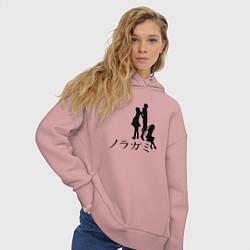 Толстовка оверсайз женская Бездомный бог цвета пыльно-розовый — фото 2