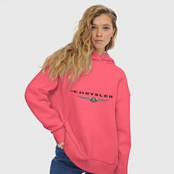 Толстовка оверсайз женская Chrysler logo цвета коралловый — фото 2