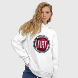 Толстовка оверсайз женская FIAT logo цвета белый — фото 2