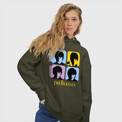 Толстовка оверсайз женская The Beatles: pop-art цвета хаки — фото 2
