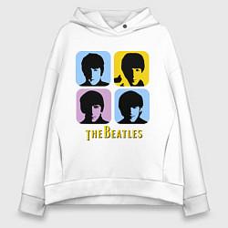 Толстовка оверсайз женская The Beatles: pop-art цвета белый — фото 1