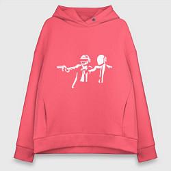 Толстовка оверсайз женская Daft Punk цвета коралловый — фото 1