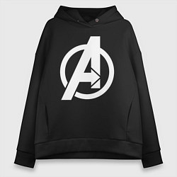 Толстовка оверсайз женская Avengers Symbol цвета черный — фото 1