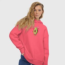 Толстовка оверсайз женская Веган Авокадо Спортсмен цвета коралловый — фото 2