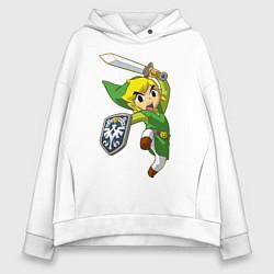 Толстовка оверсайз женская The Legend of Zelda цвета белый — фото 1