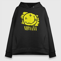 Толстовка оверсайз женская Nirvana Smile цвета черный — фото 1