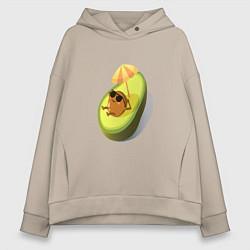 Толстовка оверсайз женская Авокадо цвета миндальный — фото 1
