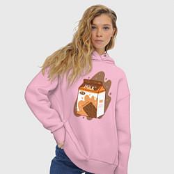 Толстовка оверсайз женская Коробка шоколадного молока цвета светло-розовый — фото 2