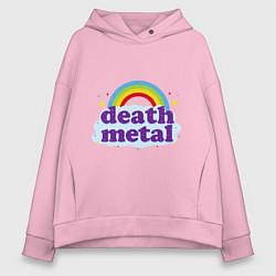 Толстовка оверсайз женская Death Metal: Rainbow цвета светло-розовый — фото 1