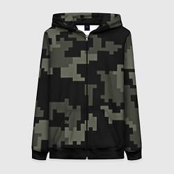 Толстовка на молнии женская Камуфляж пиксельный: черный/серый цвета 3D-черный — фото 1