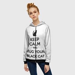 Толстовка на молнии женская Обними своего черного кота цвета 3D-черный — фото 2