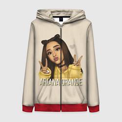 Толстовка на молнии женская Ariana Grande Ариана Гранде цвета 3D-красный — фото 1