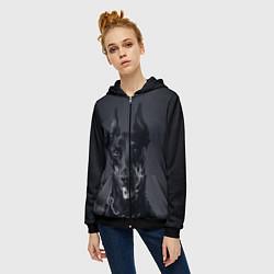 Толстовка на молнии женская Взгляд добермана цвета 3D-черный — фото 2