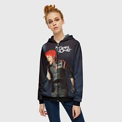 Толстовка на молнии женская Gerard Way цвета 3D-черный — фото 2