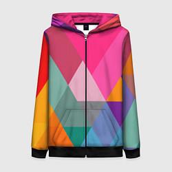 Толстовка на молнии женская Разноцветные полигоны цвета 3D-черный — фото 1