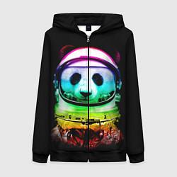 Толстовка на молнии женская Панда космонавт цвета 3D-черный — фото 1