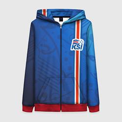 Толстовка на молнии женская Сборная Исландии по футболу цвета 3D-красный — фото 1