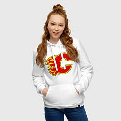Толстовка-худи хлопковая женская Calgary Flames цвета белый — фото 2