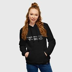 Толстовка-худи хлопковая женская Терминатор Т-800 цвета черный — фото 2
