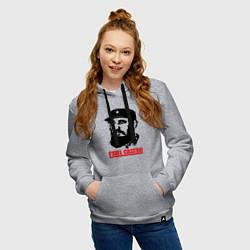 Толстовка-худи хлопковая женская Fidel Castro цвета меланж — фото 2