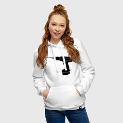 Толстовка-худи хлопковая женская Она: перфоратор цвета белый — фото 2