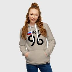Толстовка-худи хлопковая женская RUS 96 цвета миндальный — фото 2