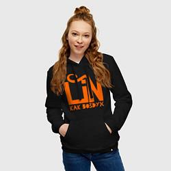 Толстовка-худи хлопковая женская Lin: как воздух цвета черный — фото 2