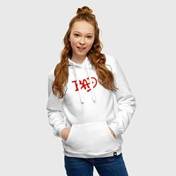 Толстовка-худи хлопковая женская Song BAD цвета белый — фото 2