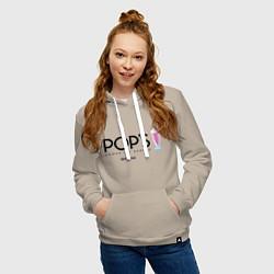 Толстовка-худи хлопковая женская POPS цвета миндальный — фото 2