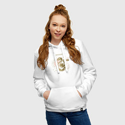 Толстовка-худи хлопковая женская Слизерин цвета белый — фото 2