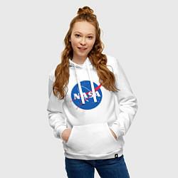 Толстовка-худи хлопковая женская NASA: Logo цвета белый — фото 2