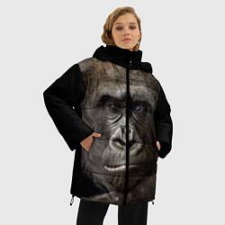 Женская зимняя 3D-куртка с капюшоном с принтом Глаза гориллы, цвет: 3D-черный, артикул: 10105697906071 — фото 2