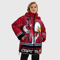 Женская зимняя 3D-куртка с капюшоном с принтом Washington Capitals, цвет: 3D-черный, артикул: 10106983706071 — фото 2
