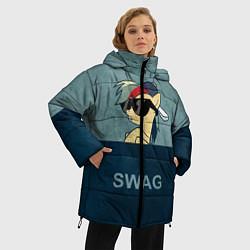Женская зимняя 3D-куртка с капюшоном с принтом My SWAG Pony, цвет: 3D-черный, артикул: 10108221806071 — фото 2