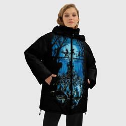 Женская зимняя 3D-куртка с капюшоном с принтом Zombie Island, цвет: 3D-черный, артикул: 10114556906071 — фото 2