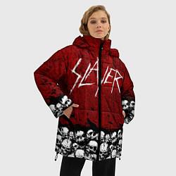 Женская зимняя 3D-куртка с капюшоном с принтом Slayer Red, цвет: 3D-черный, артикул: 10114909706071 — фото 2